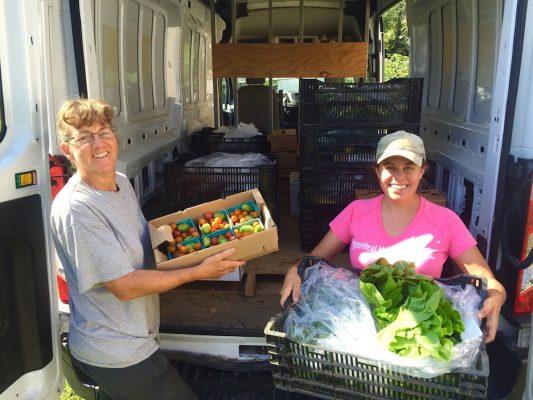 Farmers Market Greens unloading