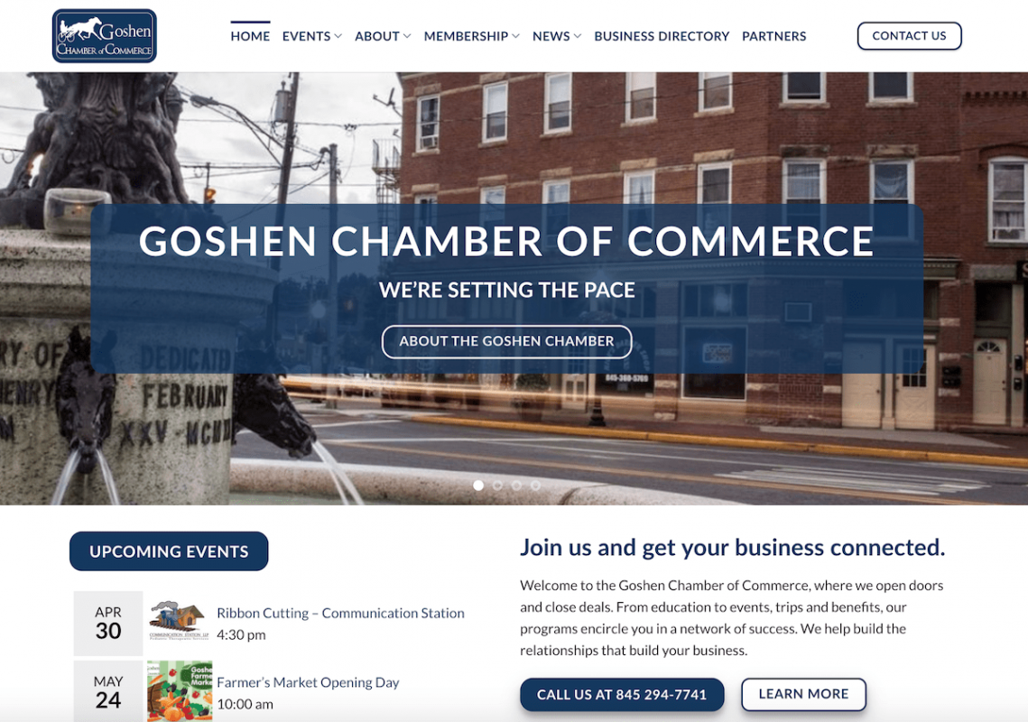 Goshen Chamber new website by Catskill Marketing