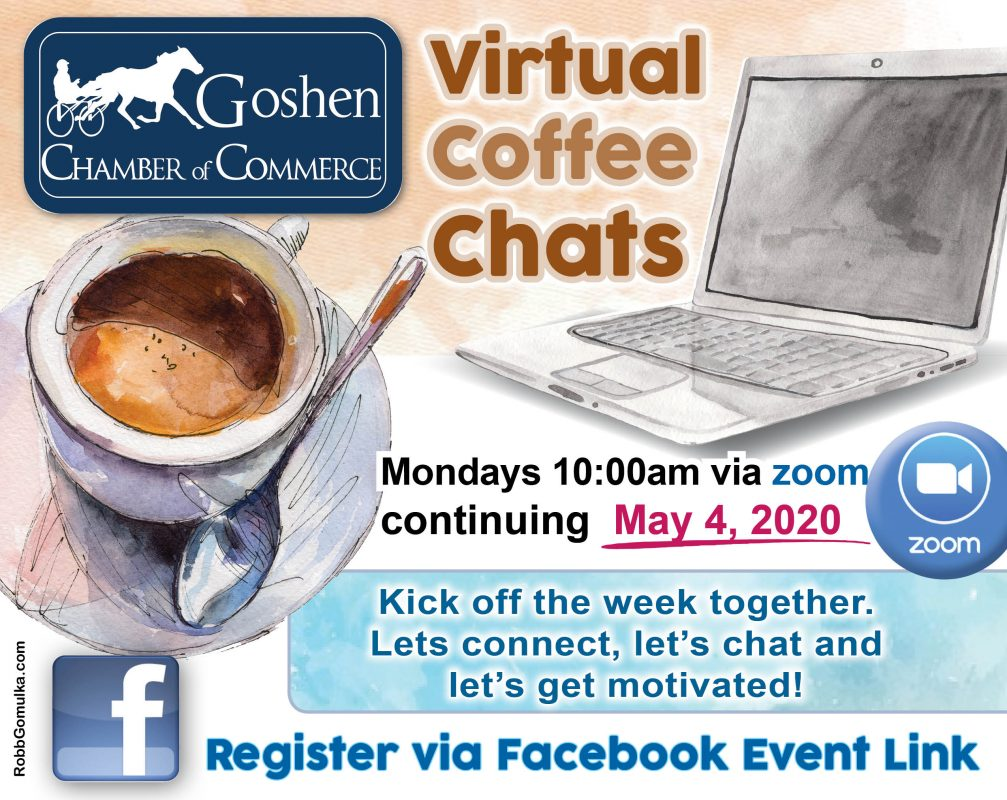 Goshen Chamber Virtual Coffee Chats Flier