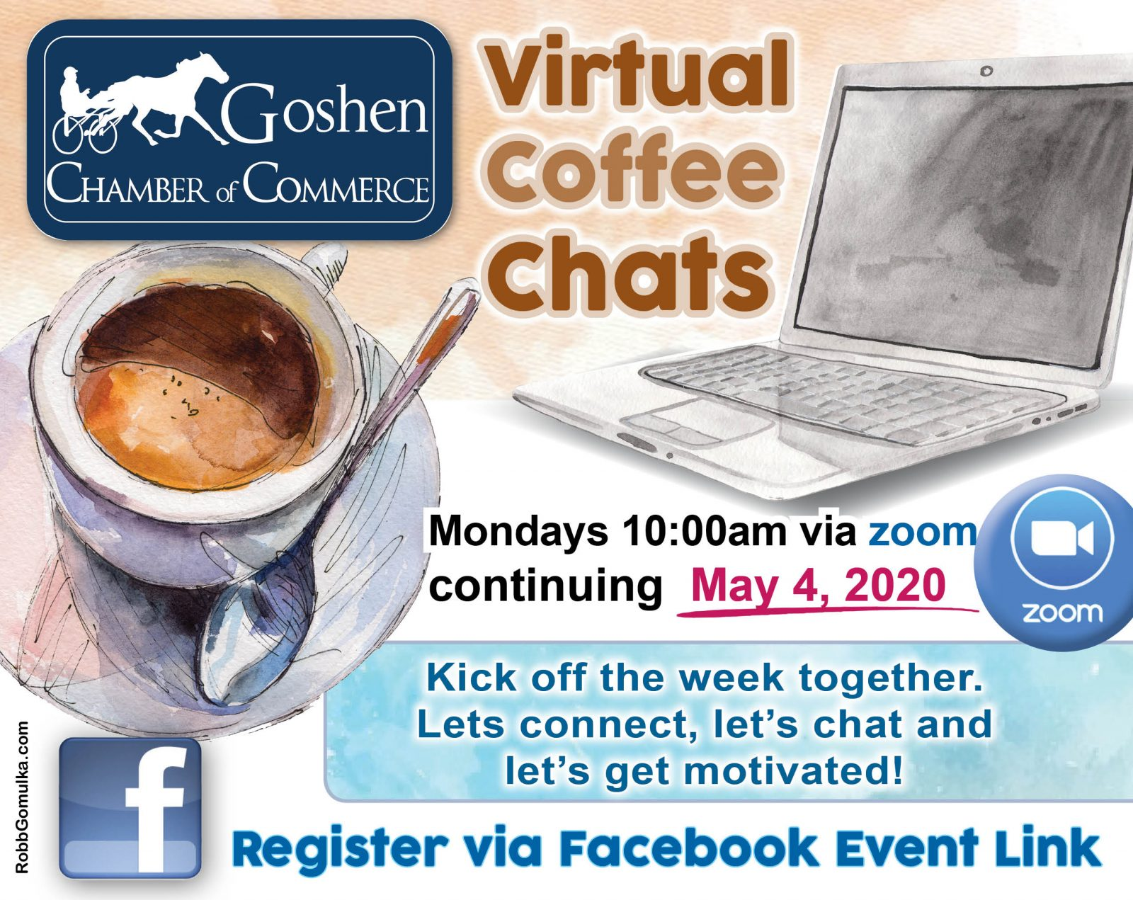 Goshen Chamber Virtual Coffee Chats Flier