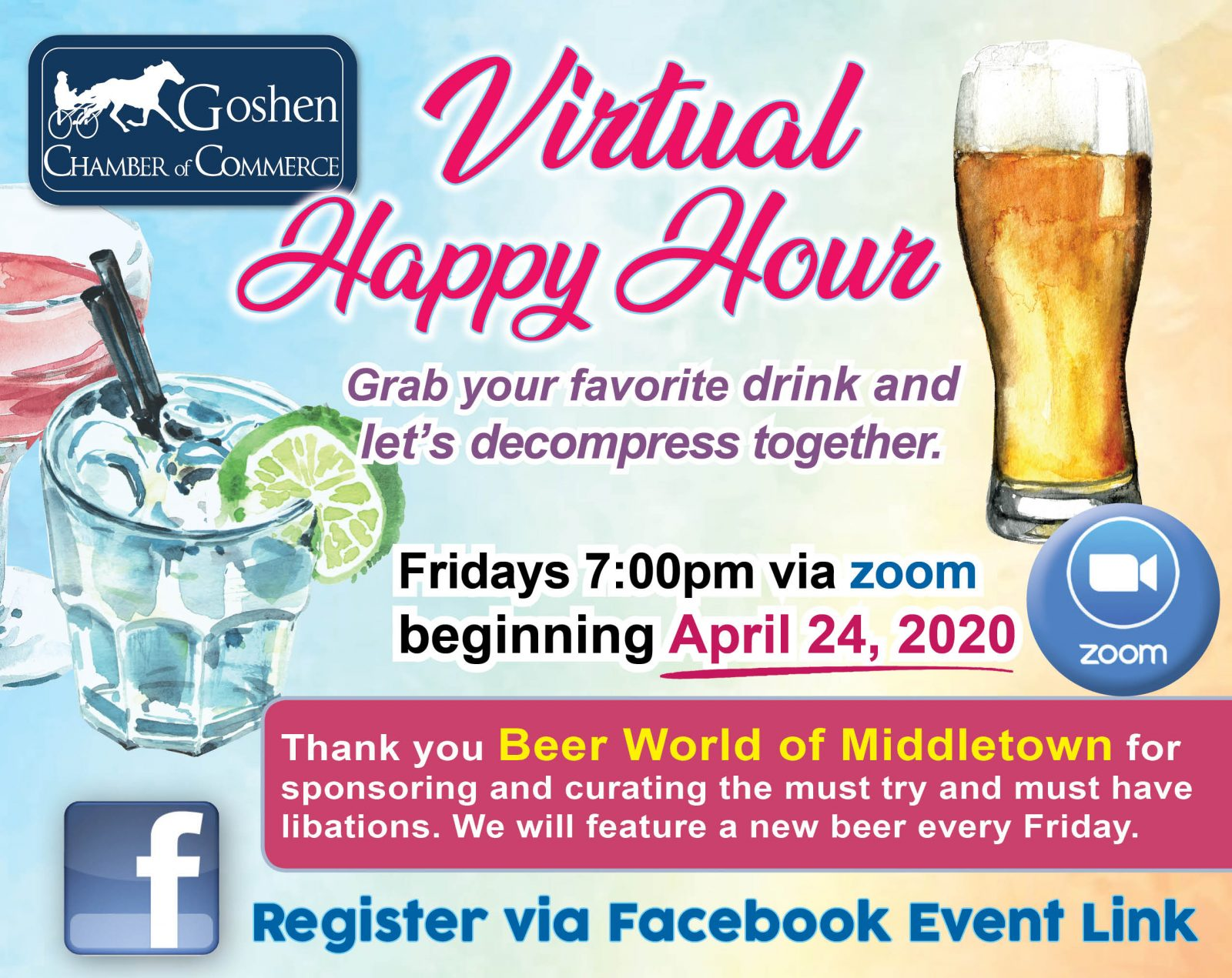 Goshen Chamber Virtual Happy Hour Flier