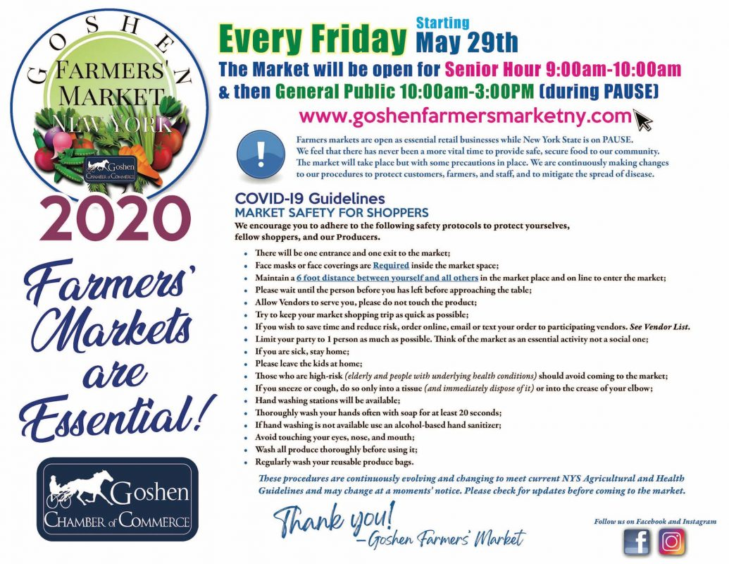 Goshen Chamber of Commerce Farmers Market 2020 flier1